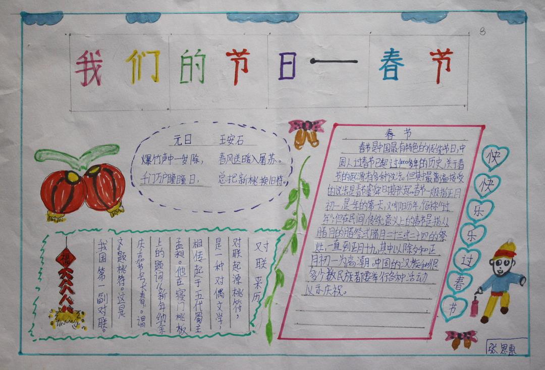 四年级春节手抄报