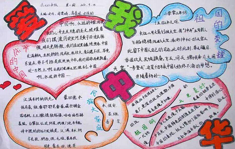 国庆节手抄报彩铅画